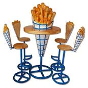 Ensemble salon Frite table et tabourets